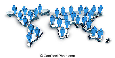 Globale Kommunikation mit einer Weltkarte