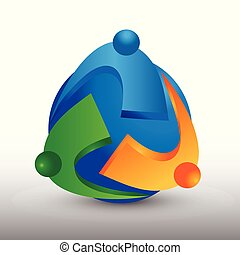 Globale Teamwork Business People Vektorlogo.