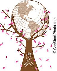 Globale Zusammenarbeit mit dem Brustkrebs-Konzept, ein Baum, der mit Blättern und Bandsymbol illustriert. EPS10 Vektordatei mit Transparenz, organisiert in Schichten für leichte Schnitte.