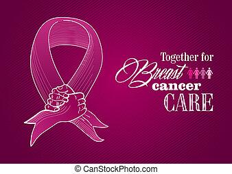 Globale Zusammenarbeit mit dem Brustkrebsbewusstseinsbild. Menschliche Hände bilden ein Bandssymbol. EPS10 Vektordatei organisiert in Schichten für leichte Schnitte.