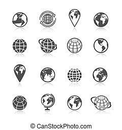 Globe Erde Ikonen.