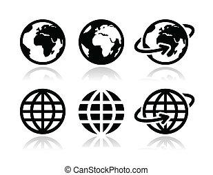 Globe-Erdevektor Ikonen eingestellt