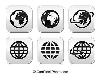 Globe-Erdevektorknöpfe eingestellt