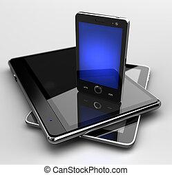 Glotztes Handy auf digitalen Polstern