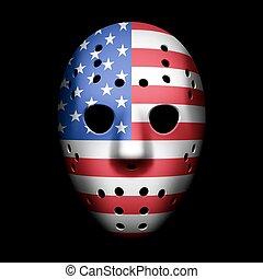 Goalie Maske mit US-Flagge.