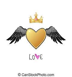 gold, glänzend, herz, krone, engelchen, realistisch, flügeln