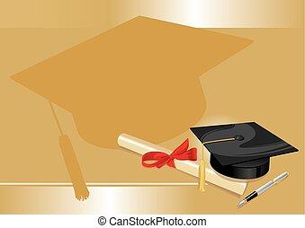 gold, grad, universität, gruß, hochschule, karte