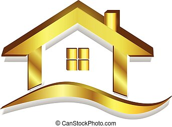 Gold House Logo 3D Vektor.