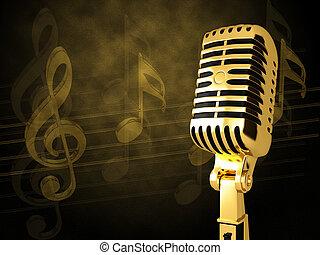 Gold Oldtimer Mikrofon