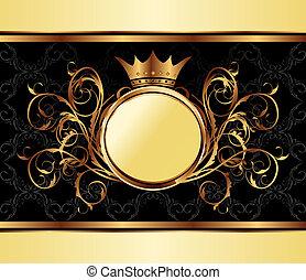 Goldeinladungsrahmen oder Packen für elegantes Design