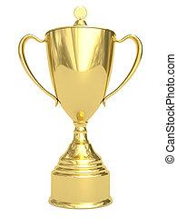 Goldener Pokal auf weiß