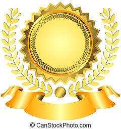 Goldener Preis mit Band (Vektor)
