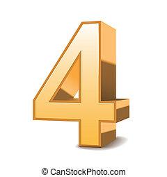 goldenes, 3d, glänzend, 4, zahl