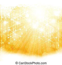 goldenes, bersten, licht, abstrakt, funkeln, lichter, sternen, blurry