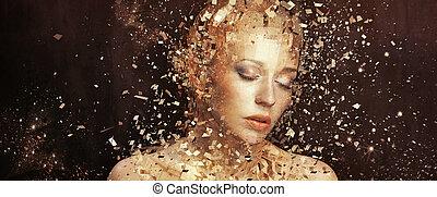 goldenes, elemente, kunst, splintering, foto, frau, tausende