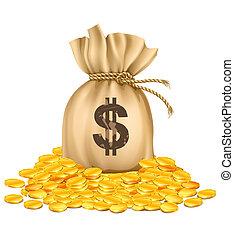 goldenes, geld, dollar, geldmünzen, tasche, haufen