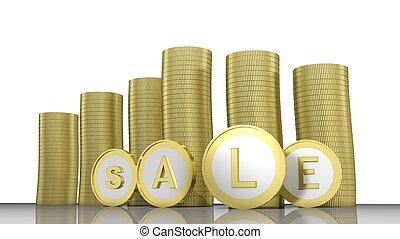 goldenes, geschrieben, geldmünzen, wort, verkauf