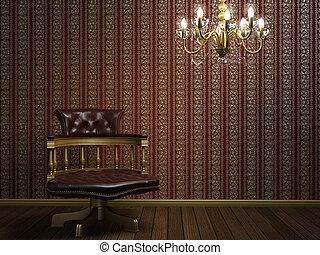 goldenes, klassisch, sessel, design, details, inneneinrichtung