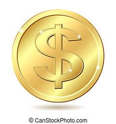 goldenes, muenze, dollarzeichen