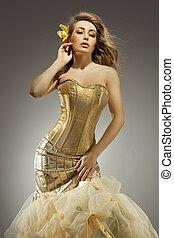 goldenes, schoenheit, elegant, posierend, blond, kleiden