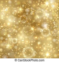 goldenes, twinkly, sternen, hintergrund, lichter