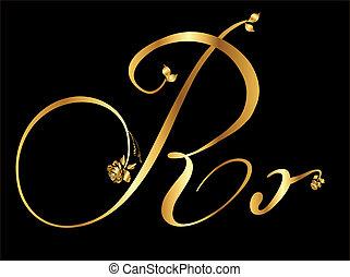 goldenes, vektor, brief, r
