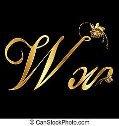 goldenes, vektor, w, brief, rosen
