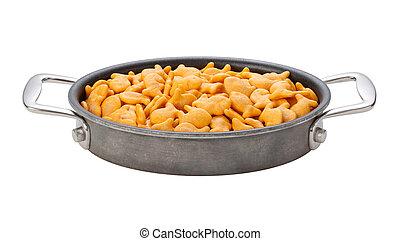 Goldfish Crackers in einer Oval-Paste.