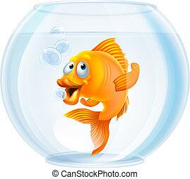 goldfish- schüssel, karikatur