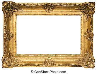Goldgestelltes Holzbild mit Ausschnitt