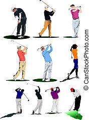golfen, players., abbildung, vektor