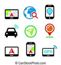 GPS, Autonavigation, Reisevektor-Icons eingestellt.