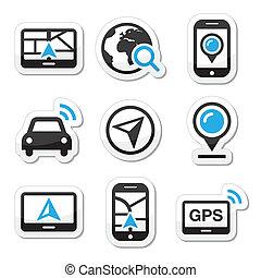 GPS, Navigations-Vektor-Icons.