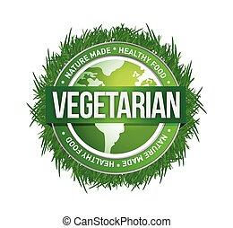 grün, vegetarier, design, abbildung, siegel