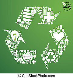 Grüne Ikonen in Recyclingsymbol gesetzt