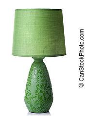 Grüne Schreibtischlampe isoliert auf weiß
