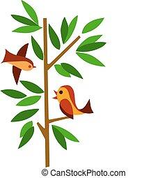 grüner baum, zwei vögel
