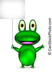 Grüner Frosch mit leerem Zeichen