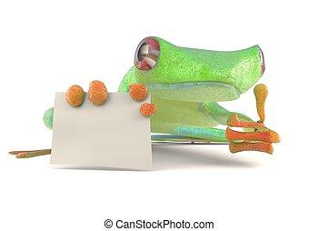 Grüner Frosch mit leeren Zeichen Daumen auf 3D Illustration.