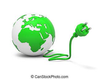 Grüner Globus mit Stecker.