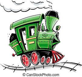 Grüner retro Cartoon Lokomotive
