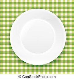 Grünes kariertes Tuch und weiße Teller.