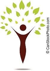 Grünes Stammbaumzeichen und Symbol, Ökokonzept.
