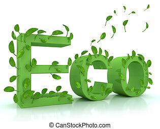 Grünes Wort ECO mit Blättern