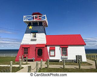 Grande anse neue brunswick Leuchtturm gemalt in acadianische Flagge