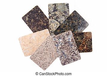 Granit-Küchen-Proben isoliert auf Weiß