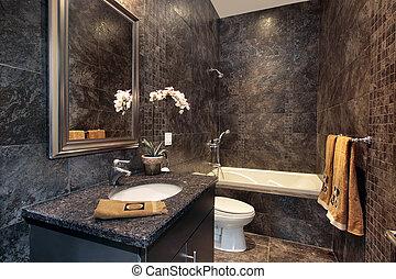 granit, wände, schwarz, zimmer, pulver