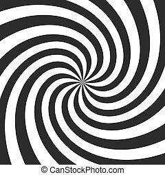 graue , verdreht, effekt, abbildung, spirale, hintergrund., vektor, rays., strahlig, wirbel, komiker, psychedelisch, retro