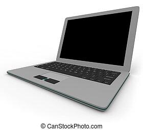 Grauer Laptop - im Winkel - rechts