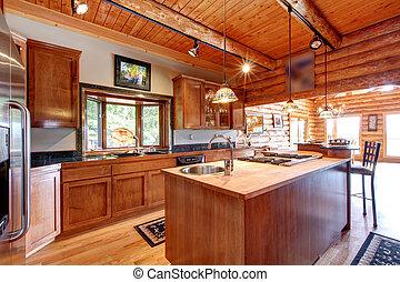 groß, kueche , blockhaus, interior.